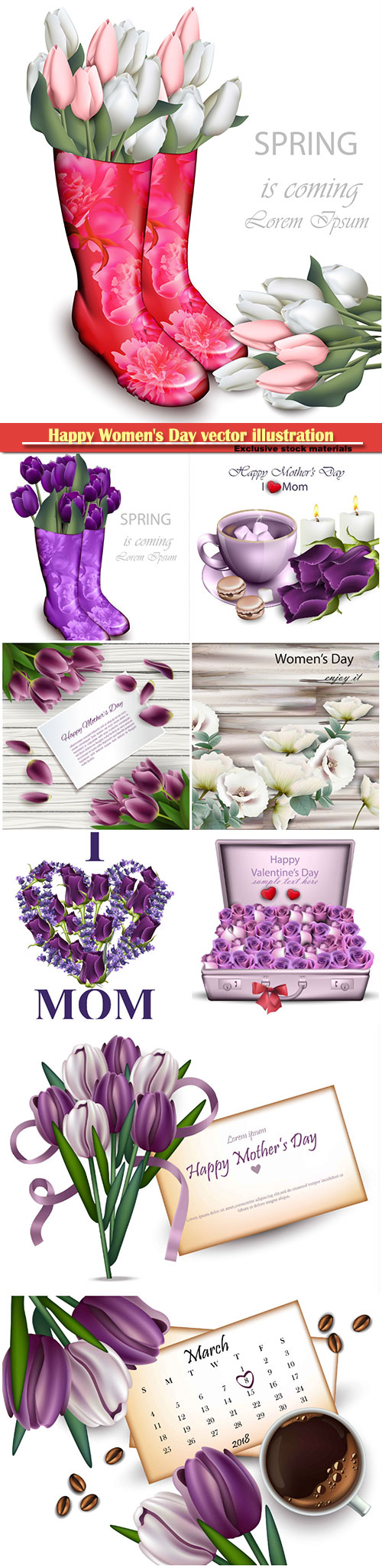 Happy Women's Day vector illustration,8 March, spring flower background #  ...